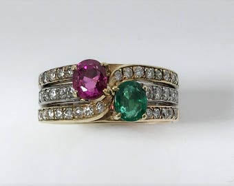 Emerald & Pink Sapphire Ring with Diamonds