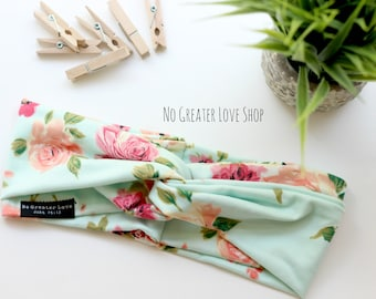 Gorgeous Mint Floral Headband - Turban Headband - Top Knot - Headwrap - Big Bow - Baby Child Adult - Buy One Give One