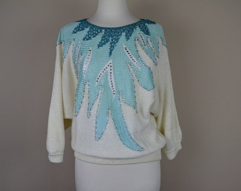 Vintage 1980s sweater - white teal sequined sweater long sleeve - 80s knit blouse