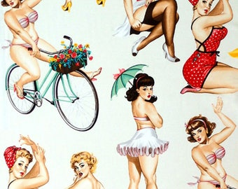 Alexander Henry Good And Plenty - Curvy Pin Up Girl Fabric - Natural - Per 1/2 metre - 100% Cotton