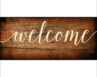 Welcome Sign Vinyl Decal   DIY Wood Sign    Half Price SALE   Ivory Decal Only   Arrow Decal