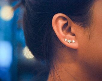 Mini Three Stars Sterling Silver Ear Climbers