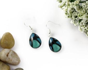 Blue & Green Earrings - Teardrop Glass Earrings - Stained-Glass Earrings - Silver Earrings - Art Nouveau Art - Turquoise Earrings - Mosaic