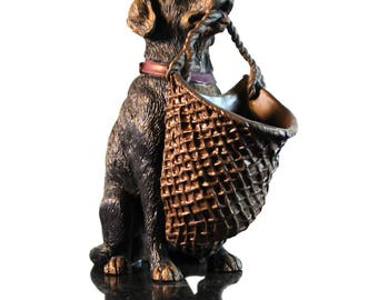 Hound Dog Statuette With Basket Ready for Rings Jewelry or Coins