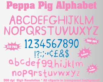 Peppa Pig Full Alphabet, Numbers and Symbols | 219 PNG | 300 dpi | Transparent Background | 3 Colors | Peppa Pig Birthday Party | Pink, Blue