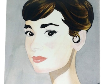 Audrey Hepburn Watercolor and Ink Artists Rendering 8.5x11 Print, Old Timey Famous Actress Beautiful Watercolor Art Prints, Audrey Portrait