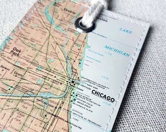 Chicago Illinois luggage tag made with original vintage map