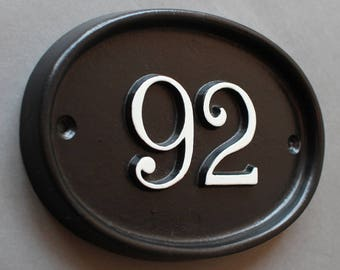 """Personalized House Sign 6.5 x 4.5"""" - Custom Hand Crafted Solid Cast Aluminium Black Metal Cottage Address Number Sign Plaque Hand Made"""