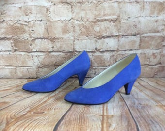 Vintage Court Shoes Pumps By Faith Blue Nubuck Leather 3in Heel  Bohemian Boho Chic Made In England Size 5UK c1980s