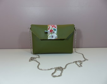 Small pouch in khaki green chain and Liberty turquoise/Red