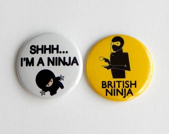 """Ninja Party Favor, 1.5"""" Backpack Pin back Button, Locker Gear Decoration, Back To School Gift, New College Student Gift Under 5 (38mm)"""