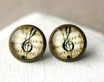 Music Earrings Treble clef Earrings CLIP or POST Earrings gift for Musician music Jewelry clip earrings brass Musical handmade earrings E530