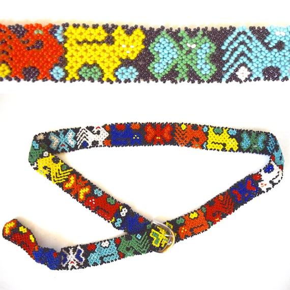 Vintage 70s 80s Rainbow Beaded Belt