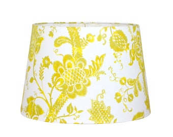 Lemon screen print etsy floral lamp shade tapered drum shade lemon lime screen printed designer lamp mozeypictures Image collections