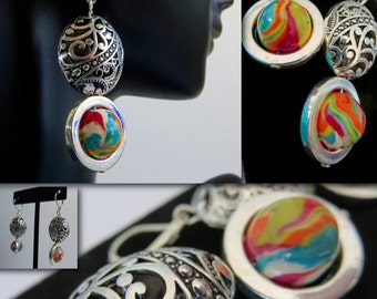 Long Dangle Earrings. LALIA. Rainbow Palette Handmade Polymer Clay beads by Anita with Silver Metal Filigree Beads