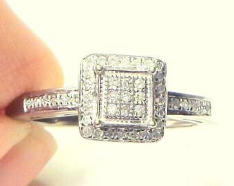 SALE,Diamond Ring, 10k White Gold, Art Deco Style, Vintage Ring, Pave Diamond Setting,Promise Ring, Engagement Ring, Wedding, White Diamonds