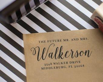 Save the Date address stamp - Future Mr. and Mrs. - Wedding Calligraphy Address Stamp - rubber stamp - Custom Wedding Stamp