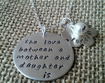 Sterling Silver Mother Necklace,  Hand Stamped Mother Daughter Necklace, Love Between Mother Daughter Necklace, Mother Gift, Daughter Gift