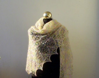 Multicolor in Pastel colors hand knitted  mohair shawl with lace  pattern