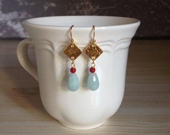 Beautiful Coral Amazonite Teardrop Gold Dangle Earrings