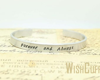 Forever and Always Bracelet - Wife Gift, Anniversary Gift, Personalized Cuff Bracelet, Custom Bracelet, Gift for her, Christmas Gift