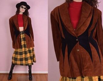 80s Patchwork Suede Coat/ Large/ 1980s/ Jacket