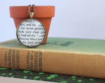 secret garden necklace - book page jewelry -  teacher gift - gardener pendant - book club gift idea - Mother's Day gift jewelry