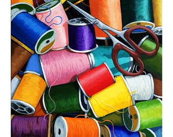 TIME to SEW - Sewing thread & scissors ORIGINAL realistic painting