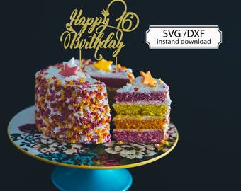 Cake Topper Svg Happy Birthday Svg Cutting File For Cricut