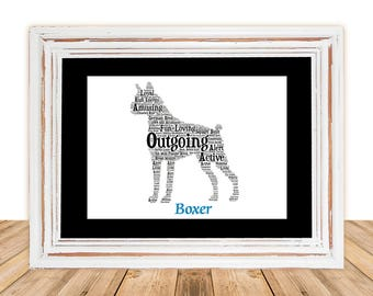 Boxer, Boxer art, Custom, Personalize, Pet Gift, Gifts Under 25, Dog Art, Pet Art, Pet Love