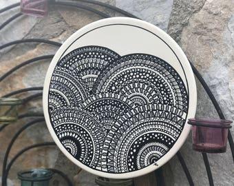 Decorative plate dishes decorated mandala dish ceramic pointillism