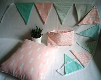 Garland flags graphic, Scandinavian, baby girl gift decoration, pink & green water, pineapples and triangles