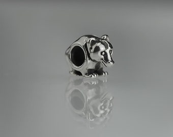 Pair of 12mm Sterling Silver Grizzly Bear Beads Animal Bead Set of 2
