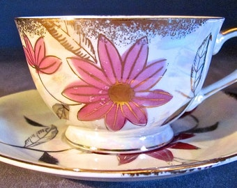 Vintage DEL CORONADO Lustreware Tea Cup And Saucer Pink Flower Original Stickers