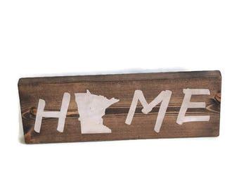 Minnesota Block Sign, Minnesota Home Sign, Mantel Block Sign, Minnesota Gift, Minnesota Stocking Stuffer, Secret Santa Gift, State Sign
