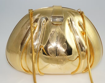 Vintage Italian Gold Snake Minaudiere Handbag Bag Case Purse Clutch Made In Italy