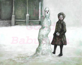 The Skinny Snowman Print, Winter, Gray, Child, Playing, Snowball,  Surrealism, White