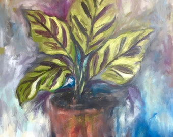 large plant painting, huge original oil painting on canvas,