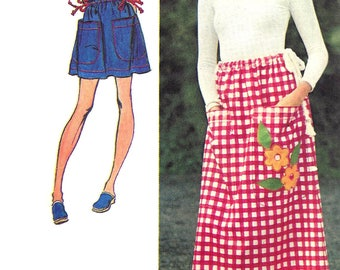 1970s Skirt Pattern Long Drawstring Miniskirt Short Jiffy Simplicity Vintage Sewing Women's Misses 1 Size Waist 23 to 30 Inches