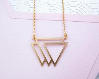 Sale Gold Triangle Necklace - Modern Geometric Jewellery, Gold Necklace, Geometric Necklace, Minimalist Jewellery, Trending Now, Laser Cut