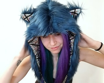 Festival hood - reversible with interchangeable chain - Intergalactic Kitteh Meowerrrrr - Faux Fur