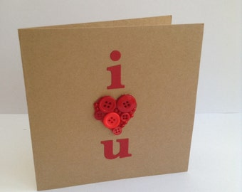 Handmade I love you card with button heart detailing