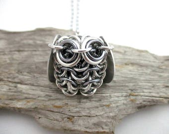 Owl Pendant Necklace - Grey Chainmaille Owl Pendant - Owl Pendant - Chainmail Owl