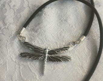Silver Dragonfly corded choker Necklace with magnetic clasp