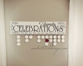 Family Birthday Board, Celebrations Board, Birthday Calendar, Family Celebrations, White and Black Wall Hanging