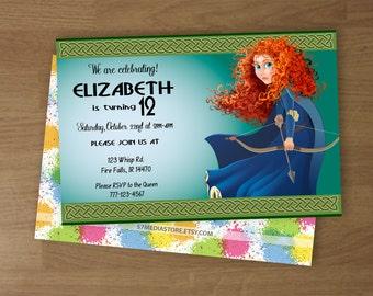 Brave - Birthday Party Invitation - Digital Printable Custom Invitation - 4 x 6  or  5 x 7