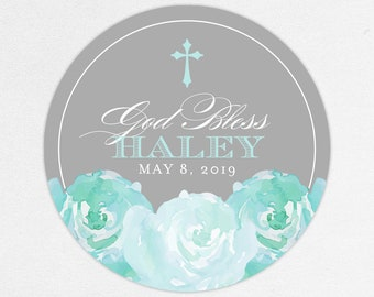 Watercolor Communion Stickers, Blue First Communion Stickers, Blue and Gray Communion Labels, Floral Communion Stickers, God Bless Stickers