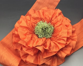Orange Ribbon Flower Millinery Appliqué Giant Size