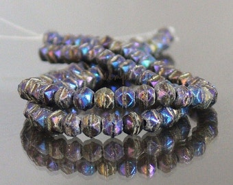 Matte Iris Blue English Cut Czech Glass Beads 3mm 50 Beads Per Strand