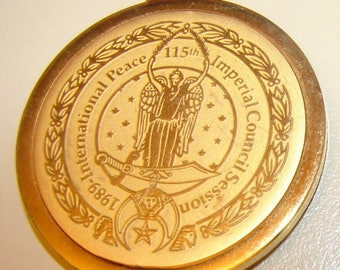 1989 SHRINER'S INTERNATIONL PEACE 115th Imperial Council Session Gold tone Medal